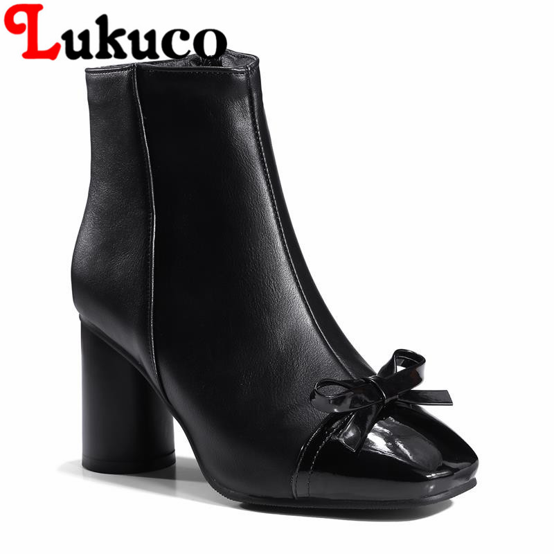 2018 EUR size 37 38 39 40 41 42 43 44 45 46 47 48 Lukuco women boots Butterfly-knot design high quality lady shoes free shipping
