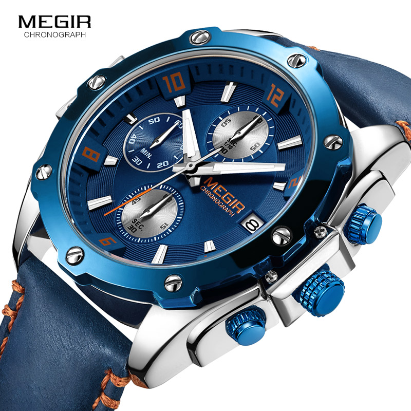MEGIR Men Watch Blue Dial Chronograph Quartz Watches Relogio Masculino Leather Military Watch Clock Men Erkek Kol Saati ML2074 hannah martin men s sport watches top brand wrist watch men watch fashion military men s watch clock kol saati relogio masculino