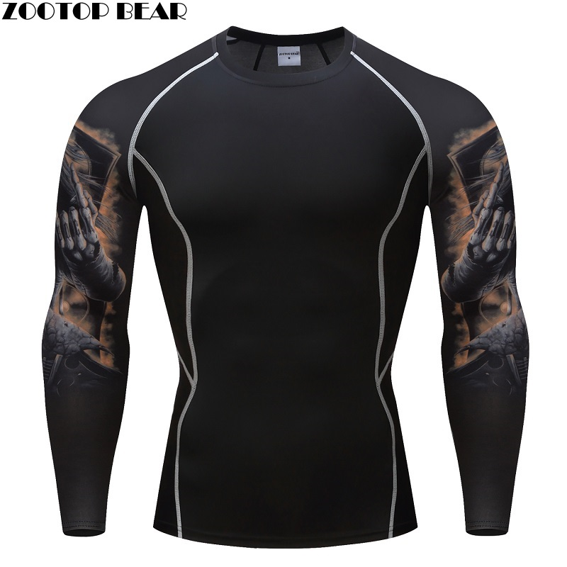 Skull Print MMA Rashguard Keep Fit Fitness Long Sleeves Layer Skin Tight Weight Lifting Elastic Mens T Shirt Quality ZOOTOP BEAR