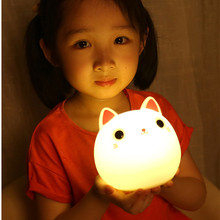 цена Cute Cat LED Night Light Touch Sensor Colorful Silicone Night Lamp USB Rechargeable Bedroom Bedside Lamp for Children Kids Baby