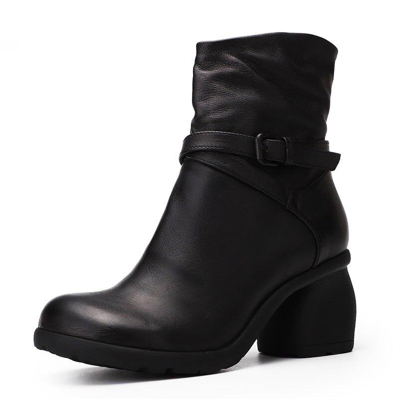 Buckle 35 Caviglia Signore Rotonda Cuoio Di Zip Modo Scarpe Black Strap Mano 40 Da Del Punta Fatti Donna Genuino Alla A Alto Stivali Solido brown Tacco Vintage g6X6TO