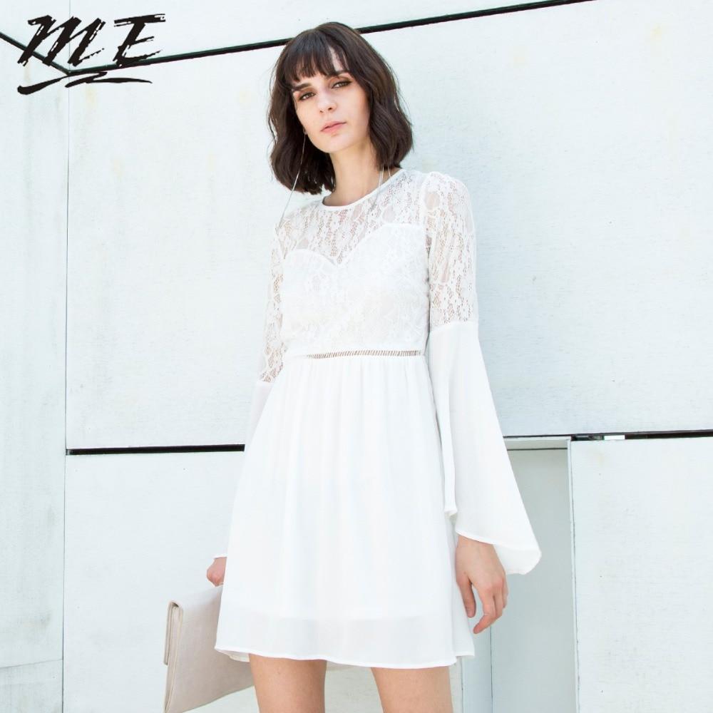 Мне кружевное платье Для женщин летом Труба рукава выдалбливают Мини платье элегантный пляжный Вечерние черные линии шифоновые платья Плю...