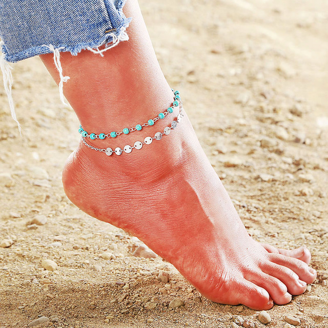 NS67 Bohemian Anklets For Women Summer Beach Jewelry Trendy Starfish Double Layer Chain 2