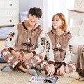 Los amantes de la ropa de noche de otoño invierno de manga larga con capucha de los hombres ropa de hogar parejas pijama a juego adulto pijama establece para las mujeres