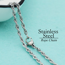 50 pcs - Stainless Steel Chain Necklace, 2.5mm Rope Chain Necklace, Stainless Steel Necklace Chain, Stainless Steel Rope Chain(China)