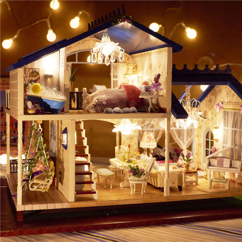 Montage DIY Miniatur Modell Kit Holzpuppenhaus Romantische Provence Haus Spielzeug mit Möbel & Cabrio Geschenk für Mädchen-in Puppenhäuser aus Spielzeug und Hobbys bei  Gruppe 1