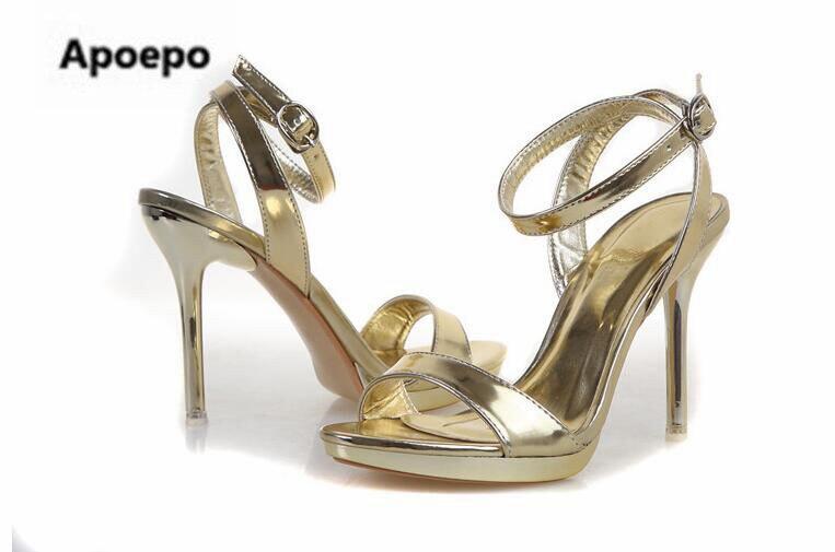 Date or argent miroir femmes sandales 7 cm/9 cm plate-forme talons chaussures femmes été cheville sangle sexy robe chaussures taille 41 - 6