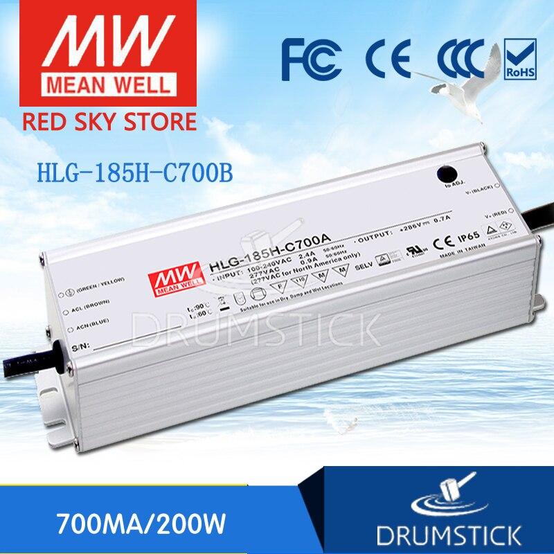 MEAN WELL HLG-185H-C700B 143V ~ 286V 700mA meanwell HLG-185H-C 200.2W LED Driver Power Supply B TypeMEAN WELL HLG-185H-C700B 143V ~ 286V 700mA meanwell HLG-185H-C 200.2W LED Driver Power Supply B Type