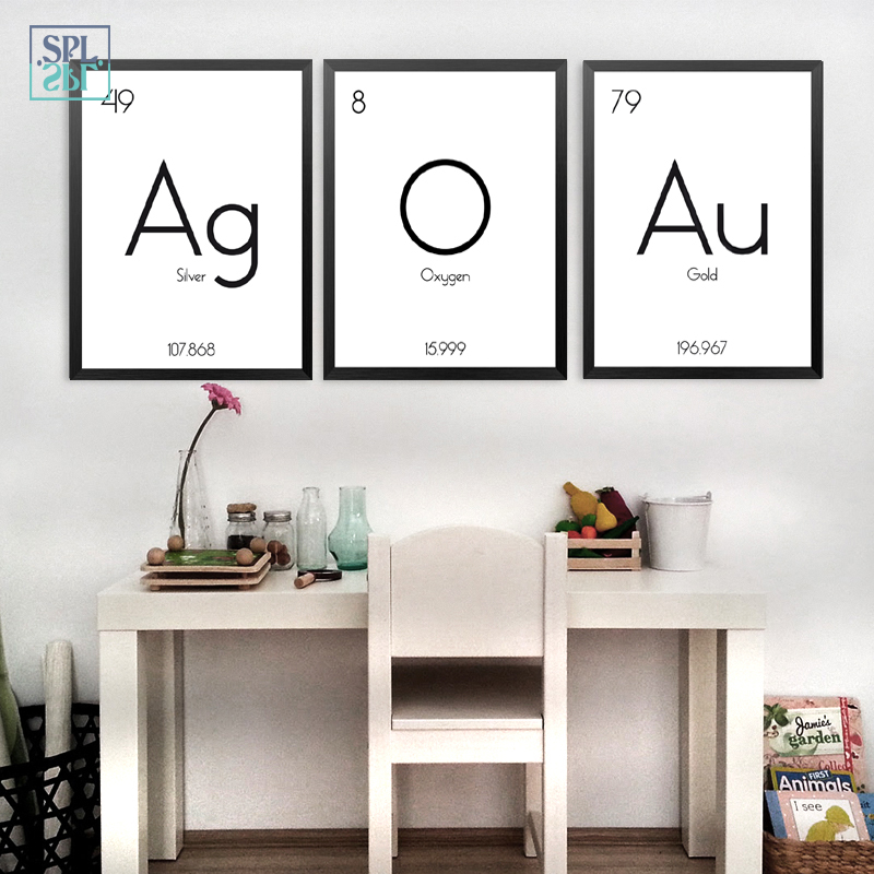 SPLSPL Abstract Black And White Painting Chemical Element Symbol Posters And Prints Wall Art Canvas Oil Painting For Kids Room