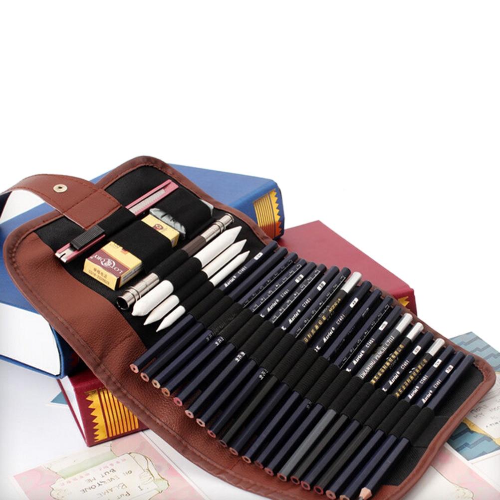 24 Holes Retro Canvas Makeup Office School Bag Artists Pencil Case  Roll Brush Pen Pouch For Artist Students 1pc