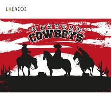 Laeacco Western Cow Boys Cartoon House Portrait Photography Backgrounds Customized Photographic Backdrops for Photo Studio