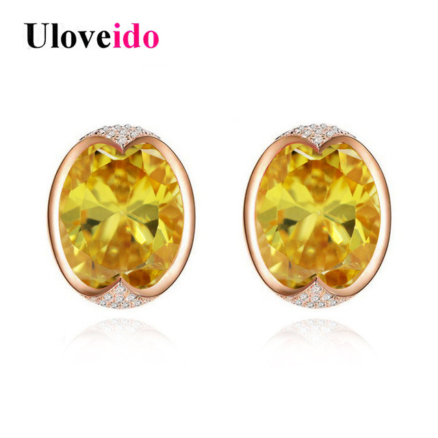 Uloveido Stud Earrings For Women Yellow Earring Rose Gold Color Silver 925 Jewelry Earings Fashion