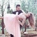 Арабский Кружева Розовый Короткие Homecoming Платья 2016 Длинные Рукава сшитое Лето Выпускные Платья ajax vestidos de renda