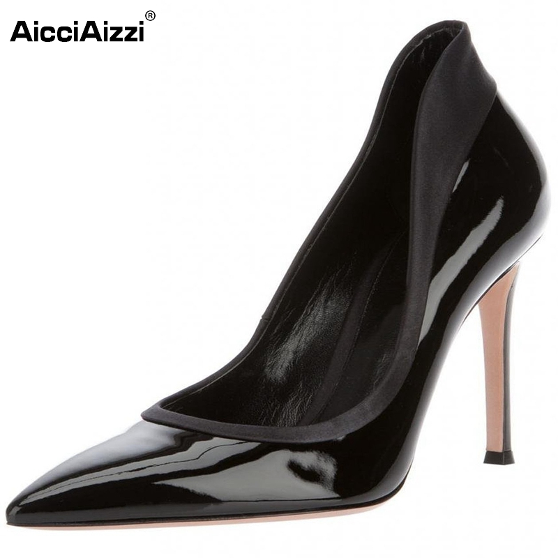 Women Pointed Toe High Heel Shoes Patent Leather Office Lady Shoes Woman Sexy Dress Pumps Heels Heeled Footwear Size 35-46 B201 lady plus size 35 46 sexy mesh patching customized luxury diamond pointed toe genuine leather high heels shoes women pumps party