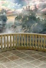 Laeacco Fairytale Cloudy Sky Mountain Top Castle Photography Backdrops Vinyl Photo Custom Backgrounds For Studio