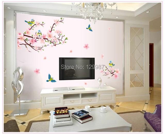 US $12.88 |Stile cinese decorazione della casa pesca romantico fiore  adesivi murali camera da letto soggiorno sala da pranzo divano TV parete  deco ...