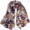 Autumn Ladies Long Silk Scarf Shawl Printed Fashion Oversize Coffee Women Silk Scarves Wraps Winter Long Scarves With Pendant