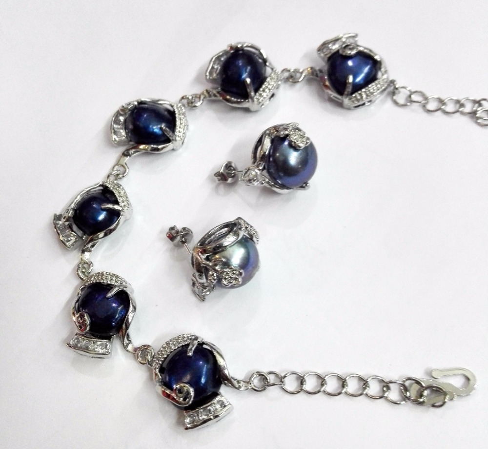 Women Jewelry Set 12mm Bright blue black baroque Pearl chain bracelet rhinestone stud earring Natural Freshwater pearl