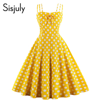 Sisjuly Vintage Dresses Women Summer Polka Dots Yellow Spaghetti Strap Sleeveless Party Sexy Cute Floral Backless Casual Dress