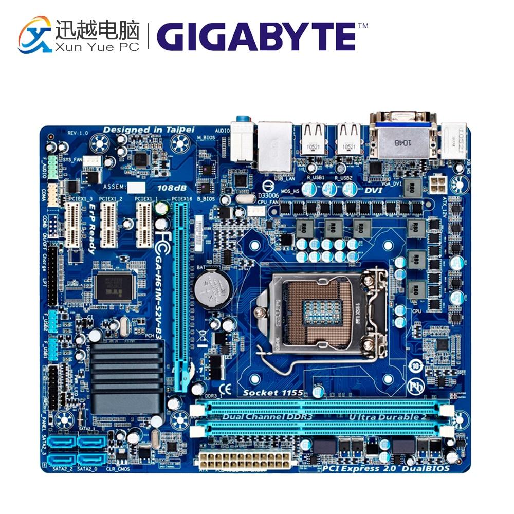 Gigabyte GA-H61M-S2V-B3 Desktop Motherboard H61M-S2V-B3 H61 LGA 1155 i3 i5 i7 DDR3 16G Micro-ATX original used gigabyte ga h61m ds2 desktop motherboard h61 for intel lga 1155 i3 i5 i7 ddr3 16g uatx uefi h61m ds2 mainboard