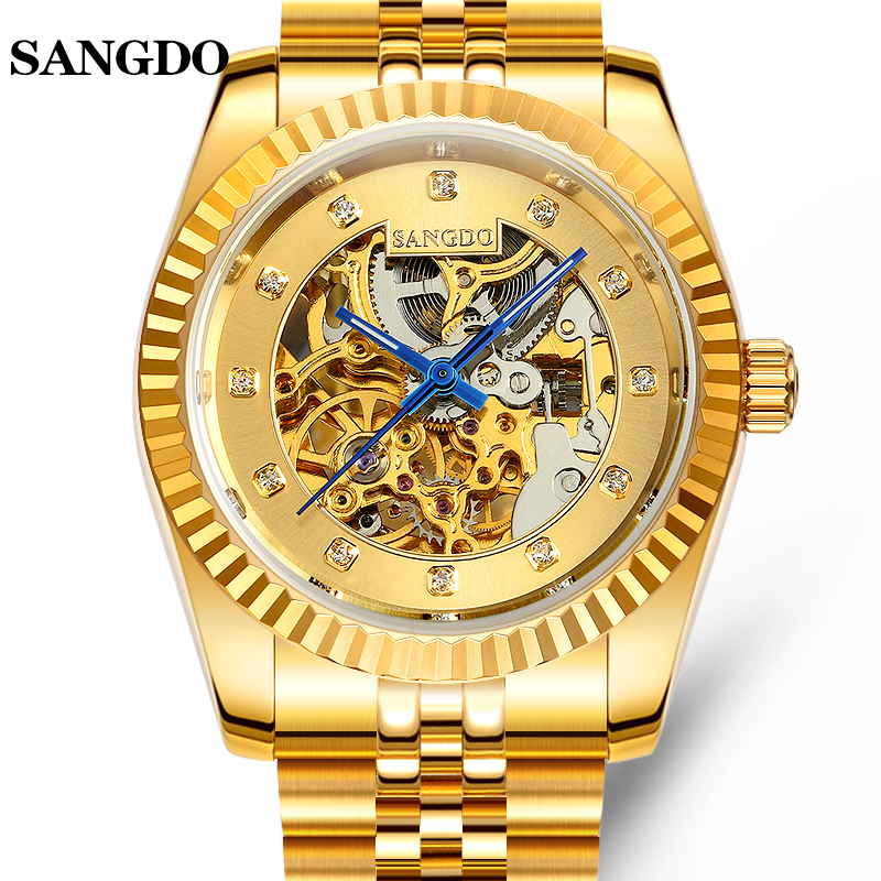 Luxury SANGDO gold watch men skeleton Stainless steel Automatic mechanical Sapphire waterproof  watch relogio masculineLuxury SANGDO gold watch men skeleton Stainless steel Automatic mechanical Sapphire waterproof  watch relogio masculine