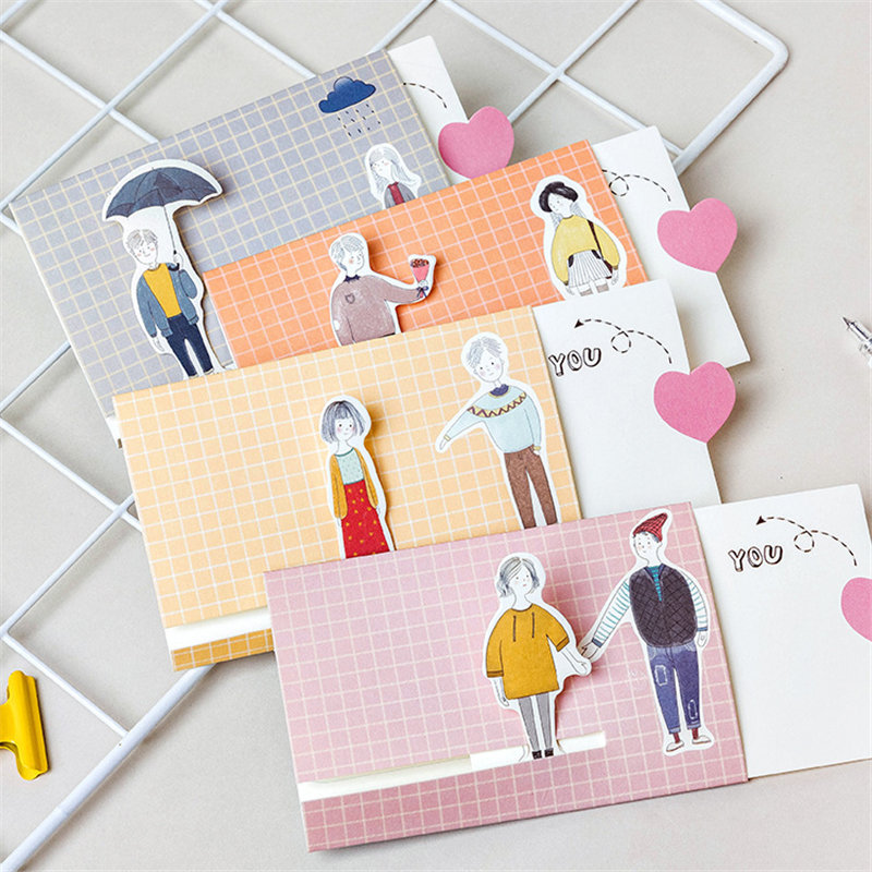 Coloffice 4PCs Korean Lovers Cute Envelop Greeting Card Birthday Card Set Friends Message Card Letter Envelope Girl Gift Card