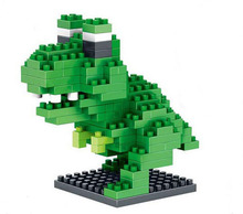 Small particles of diamond building blocks assembled fight inserted Jurassic Park dinosaur Teenage Mutant Ninja Turtles