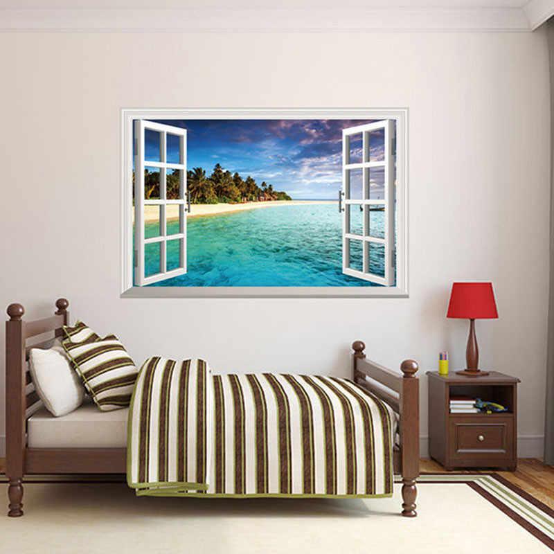 % 3D PVC Beach Sea 3D Window Scenery สติ๊กเกอร์ติดผนังบ้านตกแต่งห้องนั่งเล่น Decals ภาพจิตรกรรมฝาผนังกันน้ำ Art Wall กระดาษโปสเตอร์