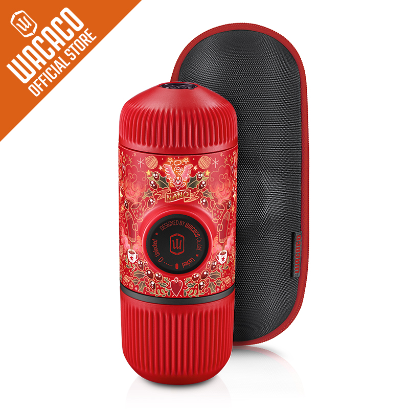 Wacaco Nanopresso, edición limitada de tatuaje rojo, máquina de expreso portátil con funda protectora, presión de 18 Bar adecuada para polvo.-in Cafeteras from Hogar y Mascotas    1