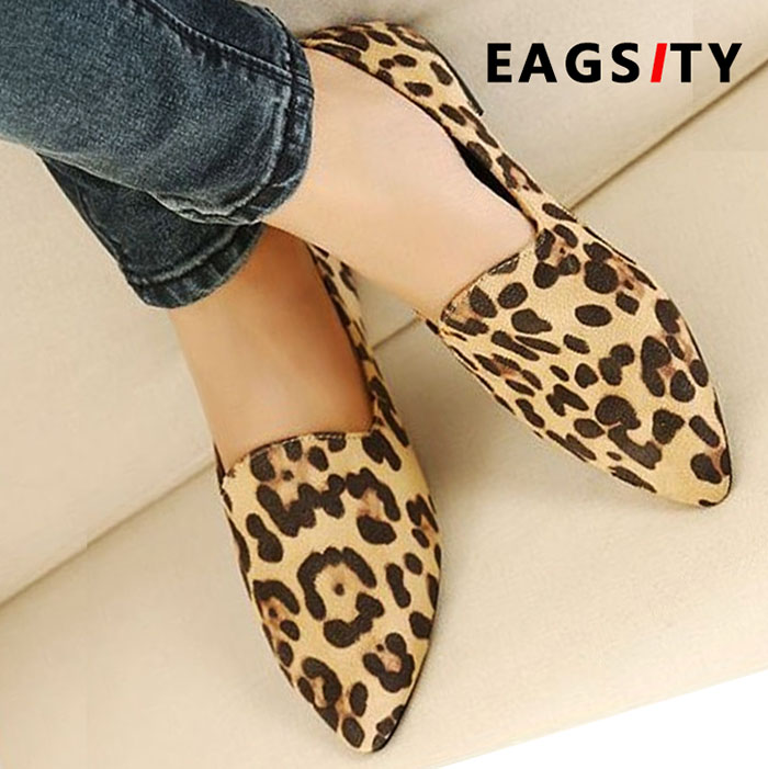 EAGSITY Suede Leopard Loafers For Women Flat Shoes Pointed Toe Slip On Shallow Comfortable Casual Ladies Mule Shoes Party