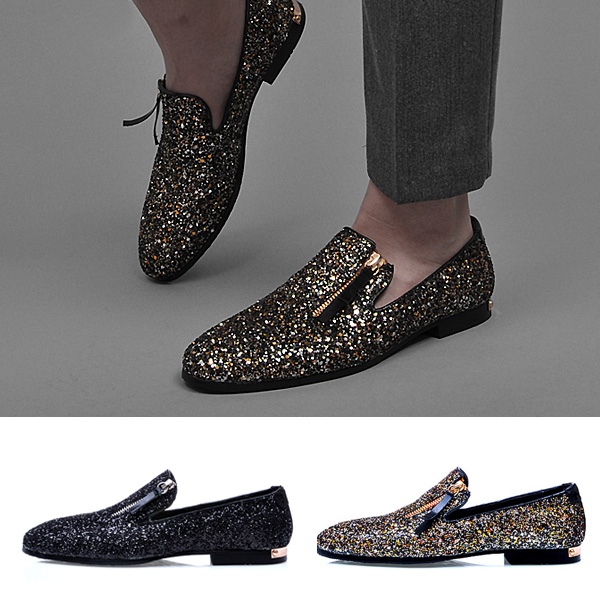 Top Quality EnglandStyle Men Flats Shiny Glitter Party Man Driving Shoes  Casual Loafers Slip On Creepers Spring Autumn Mocassins