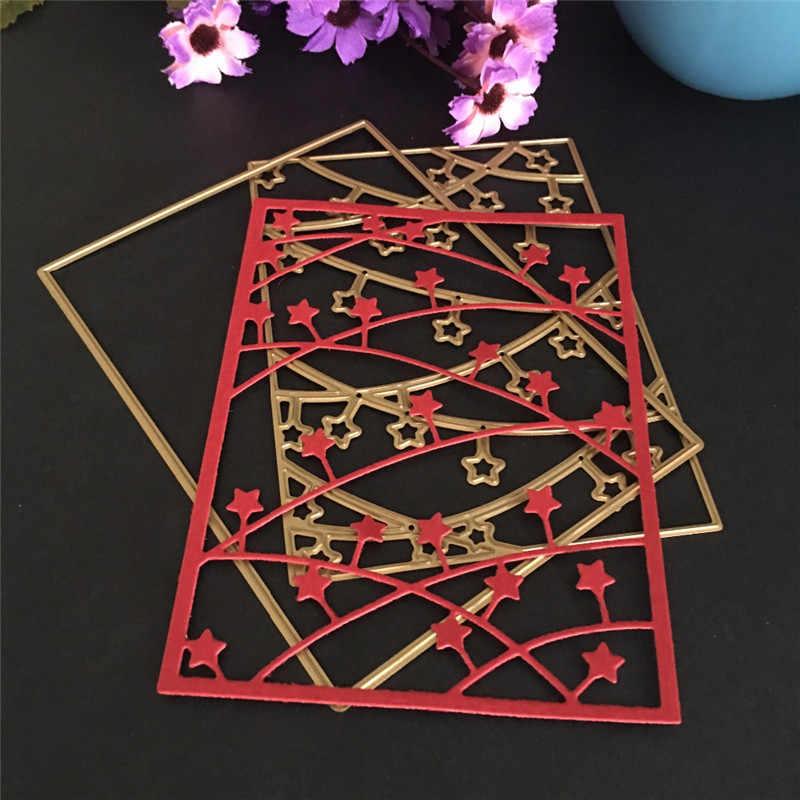Retângulo estrelas padrão de metal aço dados ofício novo morrer gravando scrapbooking faca molde corte morrer corte para a decoração do cartão de papel