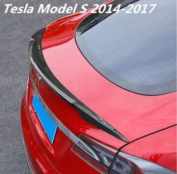 NEUE Carbon Faser AUTO HINTEN FLÜGEL STAMM LIP SPOILER FÜR Tesla Model S 2014 2015 2016 2017 2018 DURCH EMS