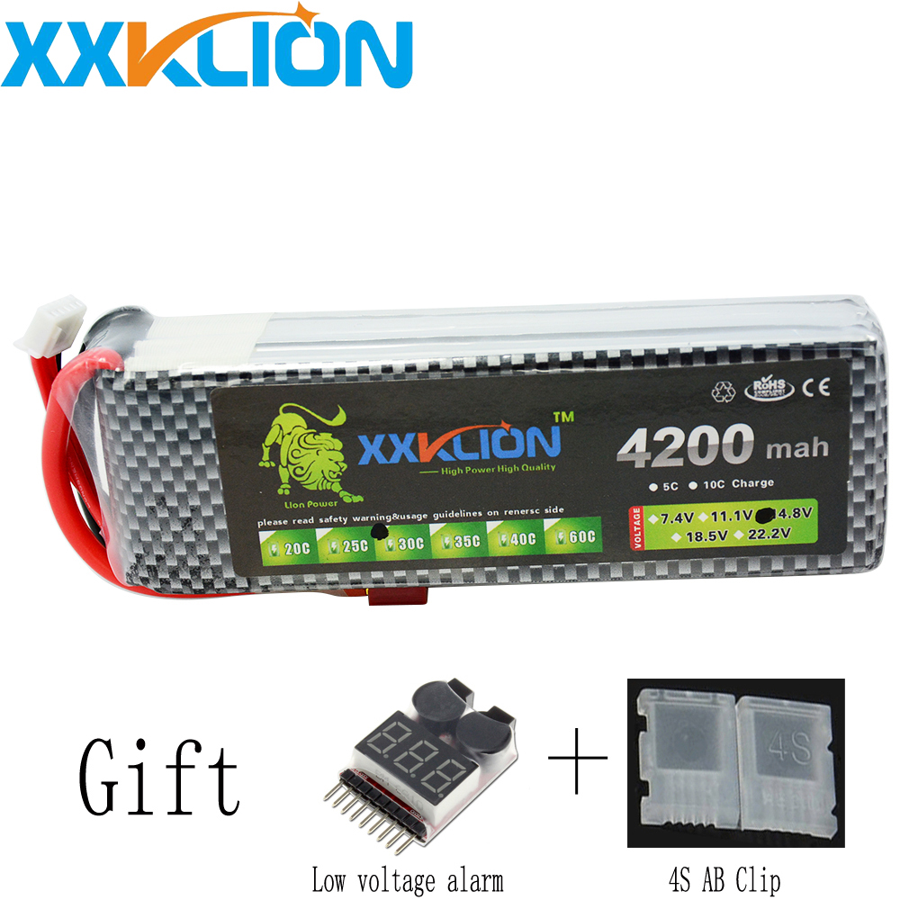XXKLION 4S 14.8V 4200mah 30C Lipo battery remote control helicopter four axis rc car power supply t / xt60 / xt90 / EC5 plug цена