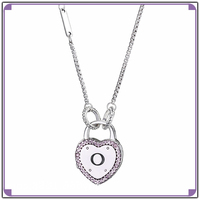 100 Real 925 Sterling Silver Rose MOMENTS Smooth Necklace With Lock Your Promise Clasp