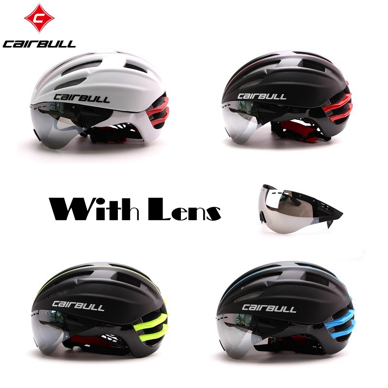 Cycling Helmet Racing Bike Safety Helmet with Goggles Mountain Road TT Bicycle Helmet