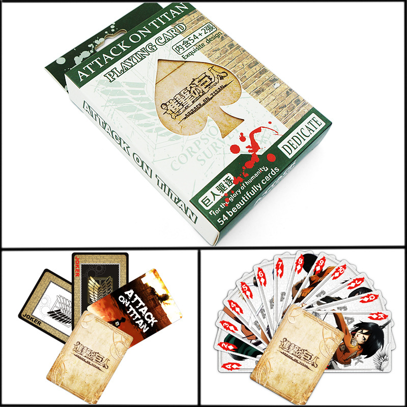 54 Sheets/Set Anime Attack On Titan Poker Cards Comics Character Collection Playing Cards Christmas And New Year Gifts
