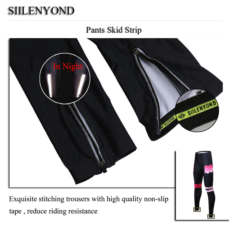 Siilenyond 2019 Winter Cycling Pants Shockproof Thermal Cycling Bicycle Trousers Keep Warm MTB Bike Cycling Tights For Women 8
