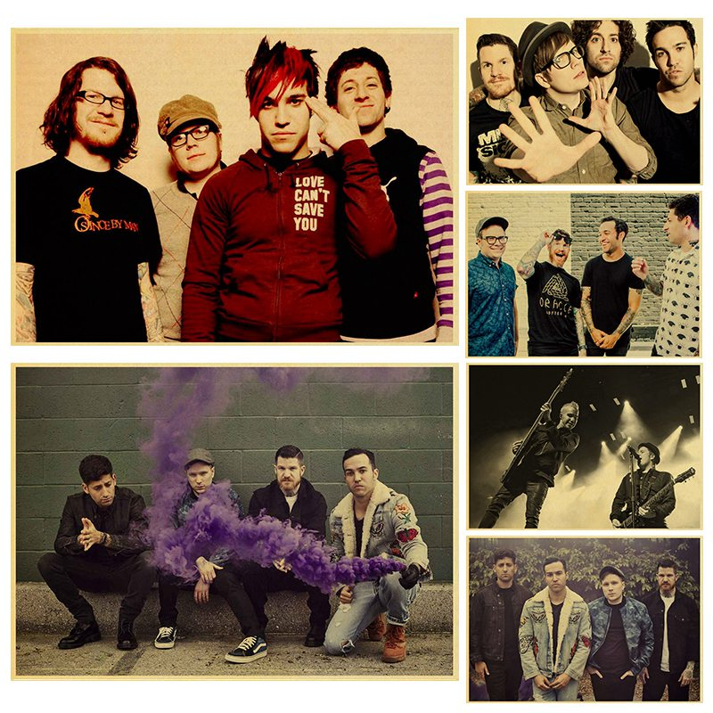 Rock music band Fall Out Boy Kraft Paper art Poster Bar Cafe Vintage High quality Printing Drawing core wall Decorative Painting