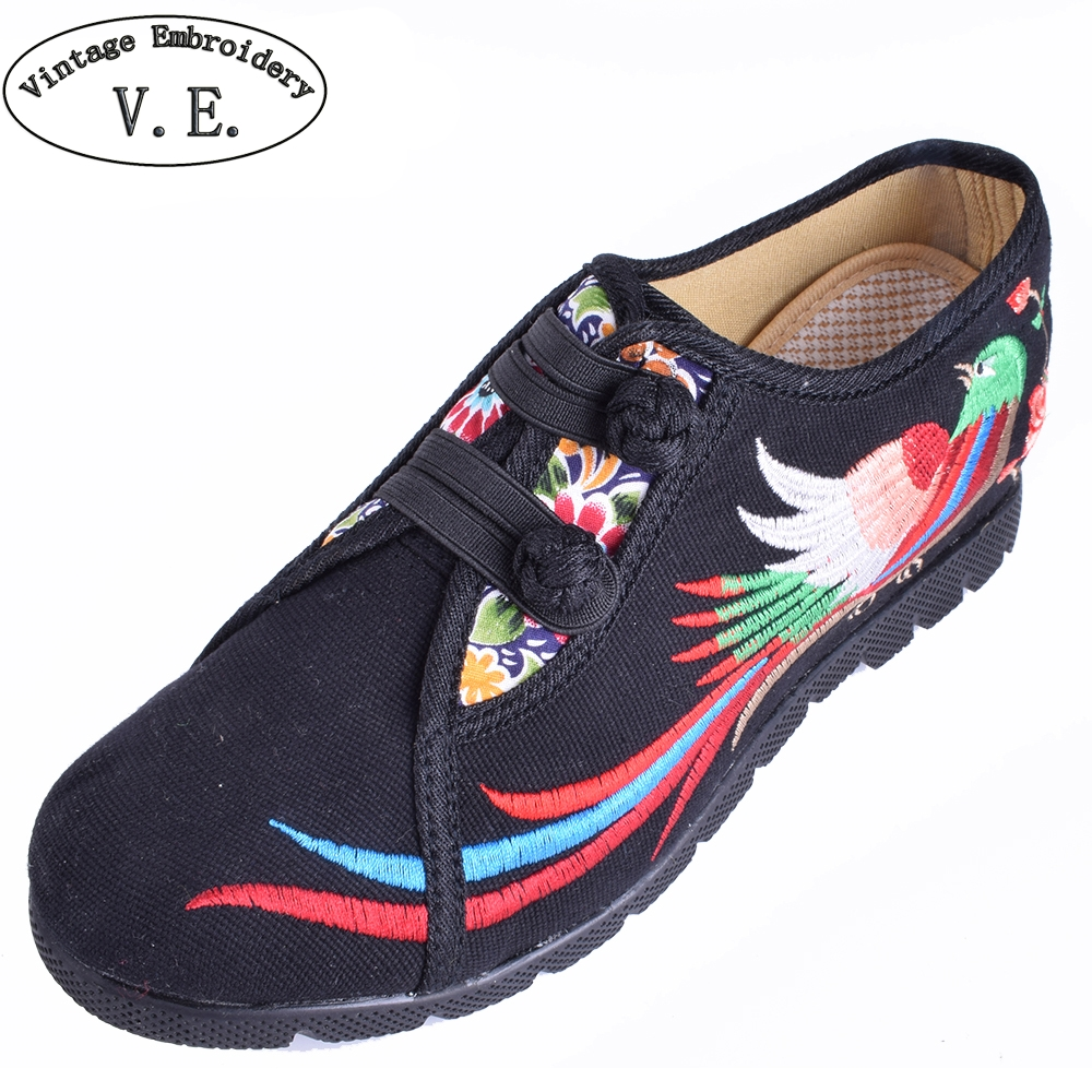 Vintage Women Flats Shoes Embroidered Shoes National Increased Heeel Ladies Flats Shoes Sapato Feminino wegogo canvas women casual shoes embroidery national casual flat shoe embroidered travel shoes flats sapato feminino bordado