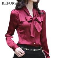 BEFORW 2017 Autumn Fashion Slim Chiffon Blouse V Neck Korean Elegant Ladies Office Shirts Blusa Women