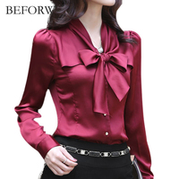 BEFORW 2017 Autumn Fashion Slim Chiffon Blouse V Neck Korean Elegant Ladies Office Shirts Blusa Women
