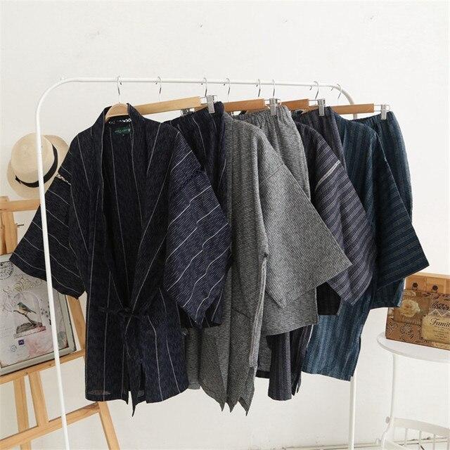 Kimono Pajamas For Men Cotton Kimono Summer Men's Sleepwear Lounge Pajama Set