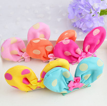 Wholesale price baby gilrs cute hand making dot fabrics bows beautiful colors barrettes  hair clips 5 20pcs/lot