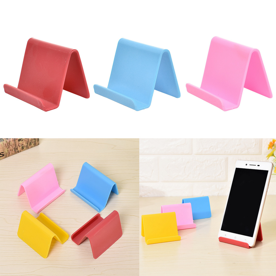 Plastic Phone Holder Fixed Holder Candy Color Kitchen Organizer Mini Portable Business Card Holder Mobile Phone Stand Household