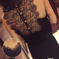 Buttons Lace Slicing Back Women Cropped Tops Sexy Elegant Eyelash Sleeveless V Neck Velvet Black Shirt