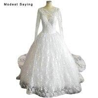 Nuovo Arrivo Elegante Royal White Ball Gown Abiti Da Sposa In Pizzo 2018 Cattedrale di Treno Maniche Lunghe Abiti Da Sposa vestido de noiva