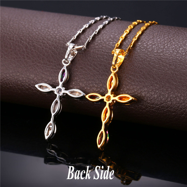 Luxury Cubic Zirconia Cross Necklace Christian Jewelry Women Gift Gold Plated Chain & Cross Pendant 2016 P1956