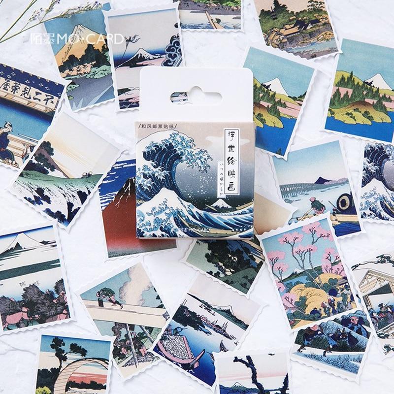 45PCS/LOT Creative Ukiyo Pictures Decorative Stationery Stickers Scrapbooking DIY Diary Album Stick Label TZ114