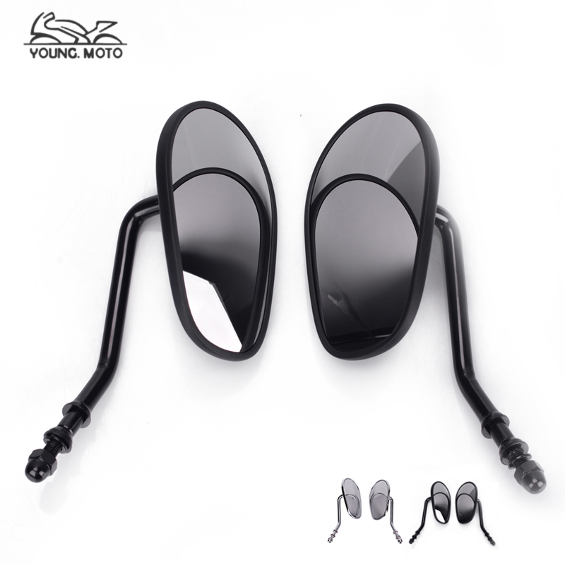 Black Chrome Motorcycle Rearview Side Mirror Mirrors Black Oval 8mm Thread For Harley Road King Classic SOFTAIL XL XL883